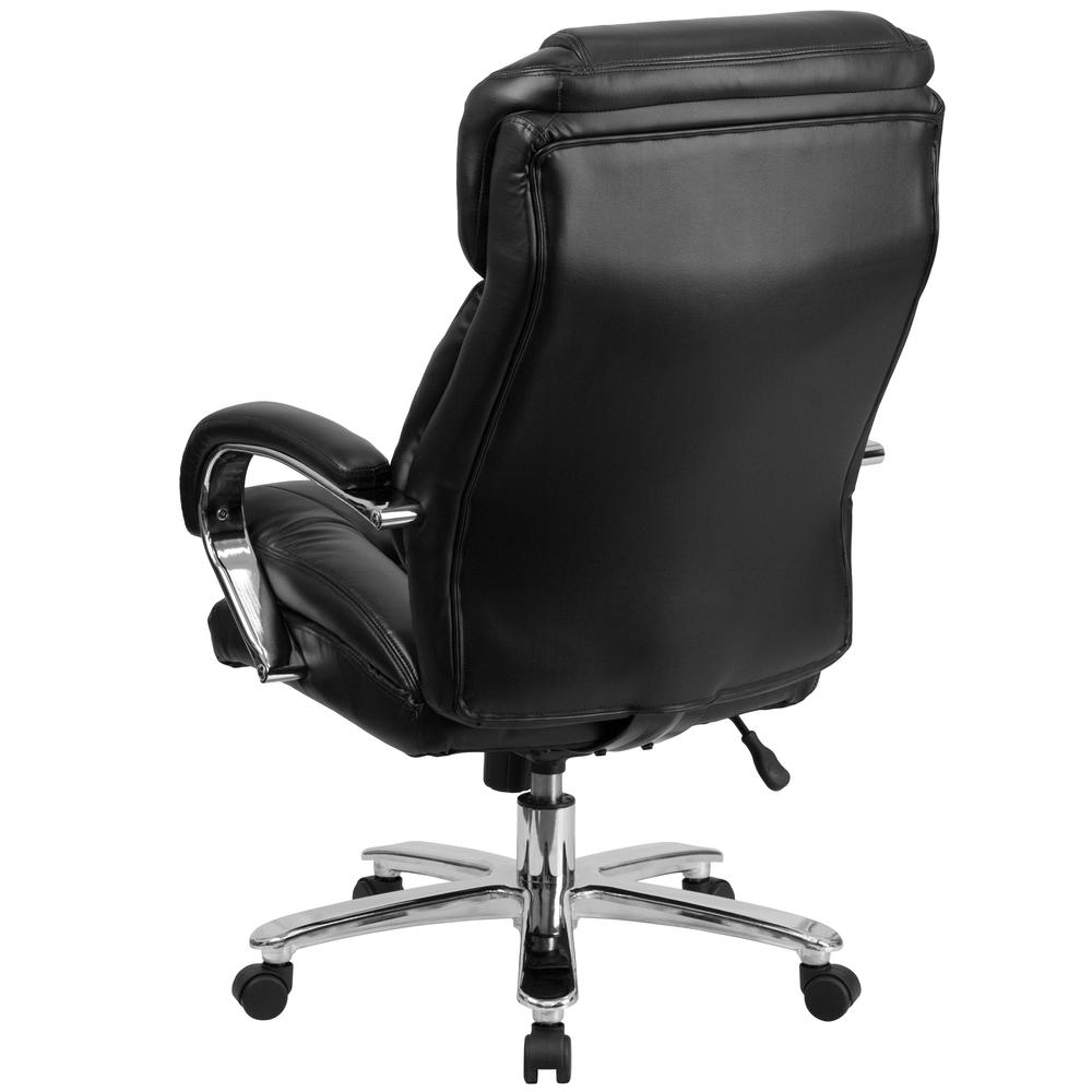 24/7 Intensive Use Big & Tall 500 lb. Rated Black LeatherSoft Swivel Ergonomic Office Chair with Loop Arms. Picture 3
