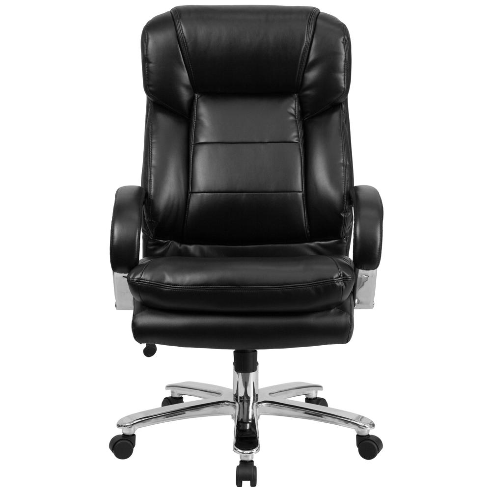 24/7 Intensive Use Big & Tall 500 lb. Rated Black LeatherSoft Swivel Ergonomic Office Chair with Loop Arms. Picture 4