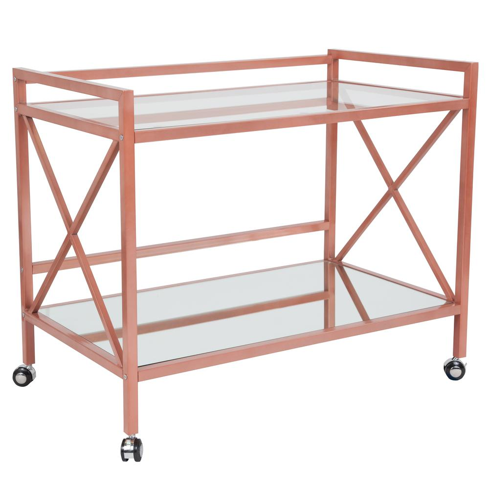 Rose Gold Metal Kitchen Bar Cart with Glass Shelves and X-Frame. Picture 1
