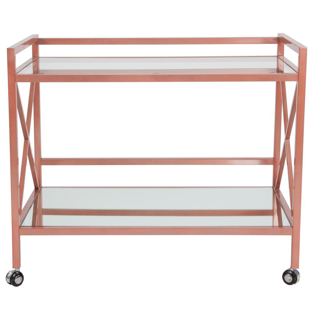 Rose Gold Metal Kitchen Bar Cart with Glass Shelves and X-Frame. Picture 2