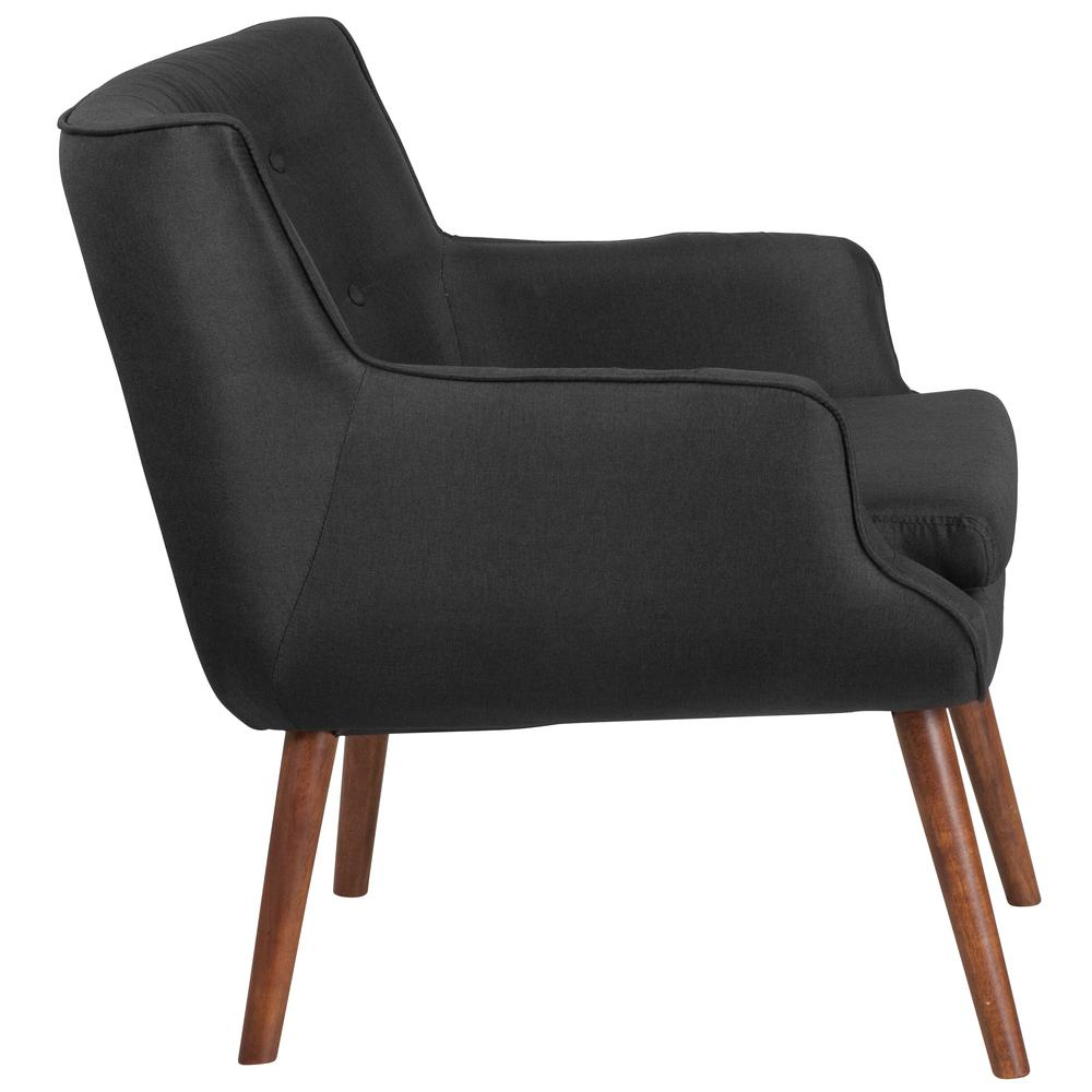 Black Fabric Button Tufted Arm Chair With Slanted Legs