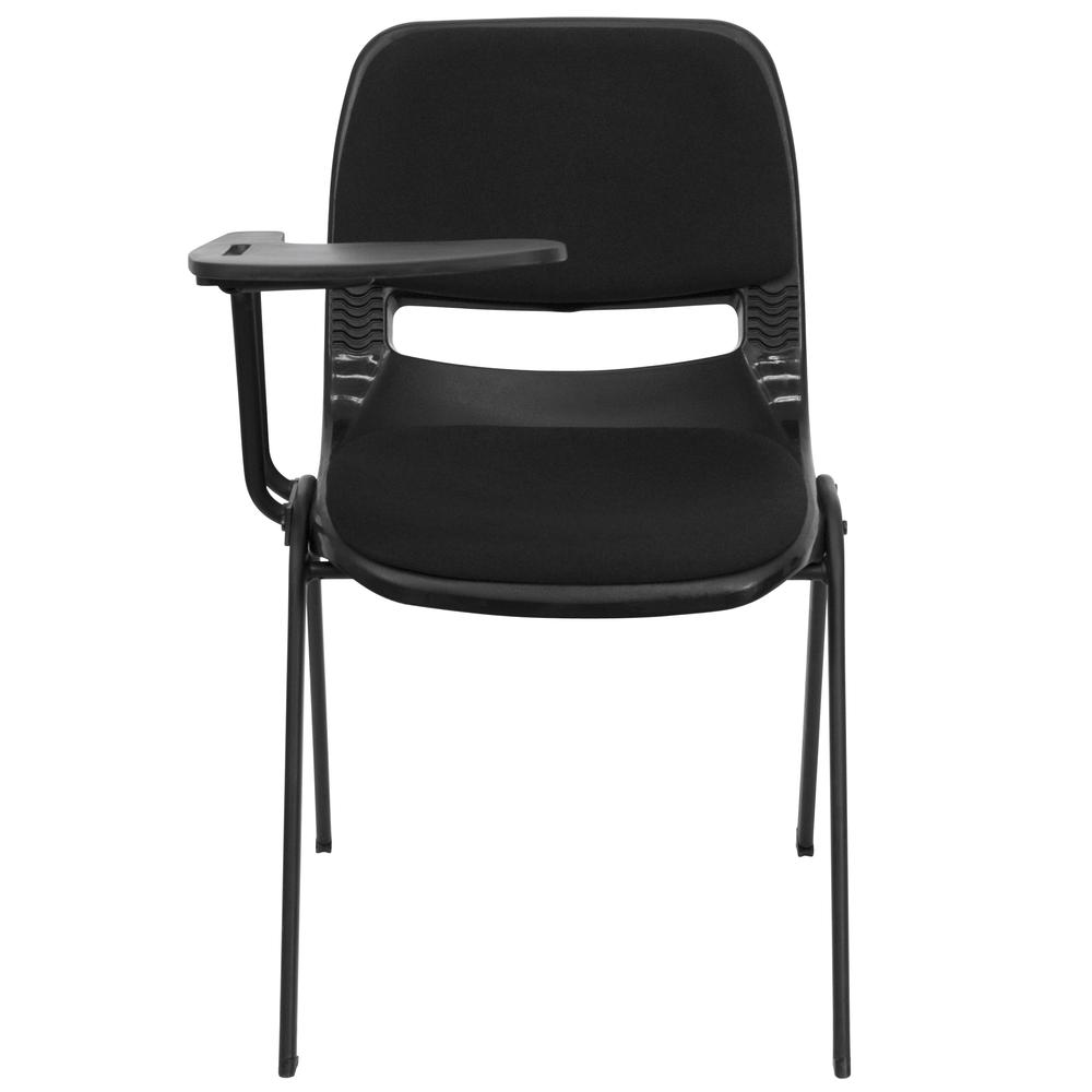 Black Padded Ergonomic Shell Chair With Right Handed Flip