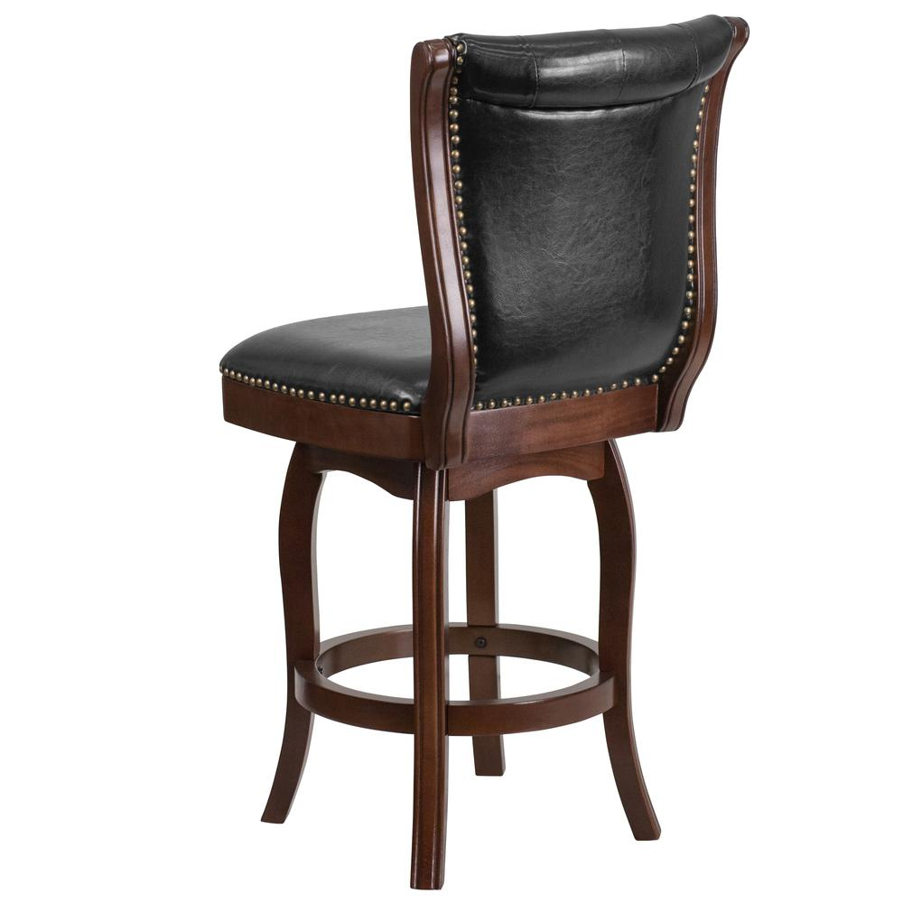 Enjoyable 26 High Cappuccino Wood Counter Height Stool With Button Tufted Back And Black Leather Swivel Seat By Alamont Pabps2019 Chair Design Images Pabps2019Com