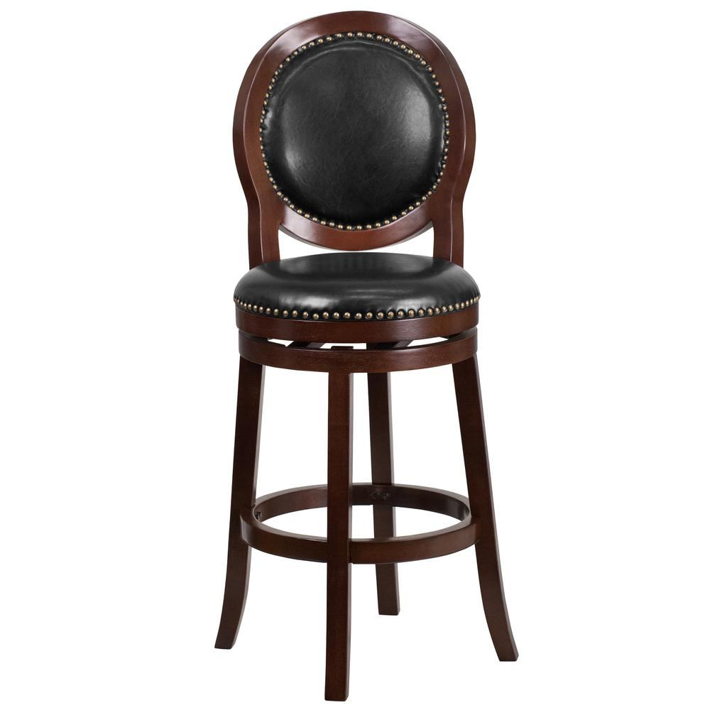 30'' High Cappuccino Wood Barstool with Oval Back and Black Leather Swivel Seat