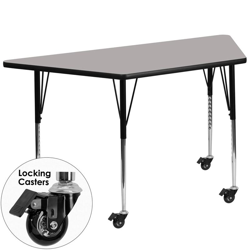 Mobile 29.5''W x 57.25''L Trapezoid Grey HP Laminate Activity Table - Standard Height Adjustable Legs. Picture 1