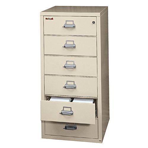 6 Drawer Card, Check and Note File Cabinet, Taupe. Picture 1