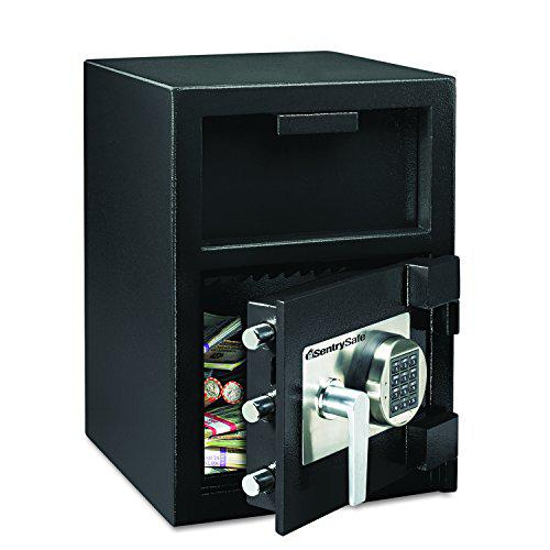 """Sentry Safe Electronic Lock Depository Safe - 1.30 ft³ - Electronic Lock - Water Resistant - Internal Size 14.50"""" x 13.70"""" x 11.30"""" - Overall Size 24"""" x 14"""" x 15.6"""" - Black - Steel. Picture 1"""
