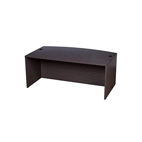 """Boss Bow Front Desk Shell, Driftwood 71W*36/41""""D*29.5""""H. Picture 1"""