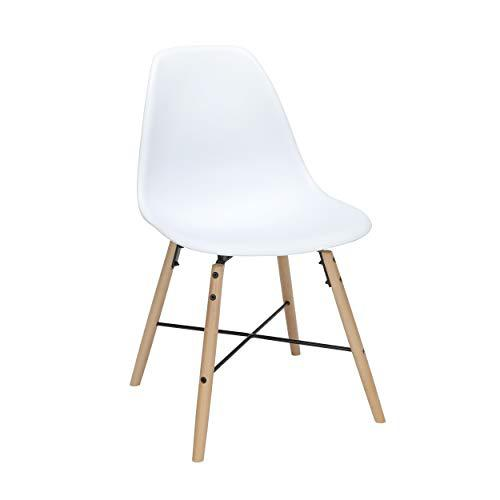 """OFM 161 Collection Mid Century Modern 18"""" Plastic Molded Dining Chairs, Beechwood Legs with Wire Accent, 4 Pack, in White (161-P18A-WHT-4). Picture 1"""