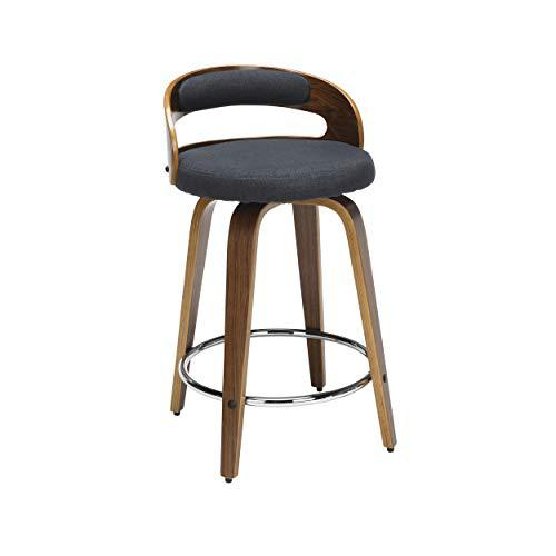 """OFM 161 Collection Mid Century Modern 24"""" Low Back Bentwood Frame Swivel Seat Stool with Fabric Back and Seat Cushion, in Walnut/Navy (161-WF24C-NVY). Picture 1"""