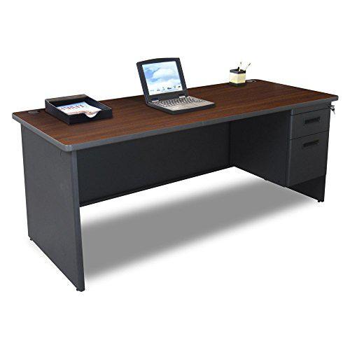 Pronto Single Pedestal Desk, 72W x 30D - Mahogany Laminate and Dark Neutral Finish. Picture 1