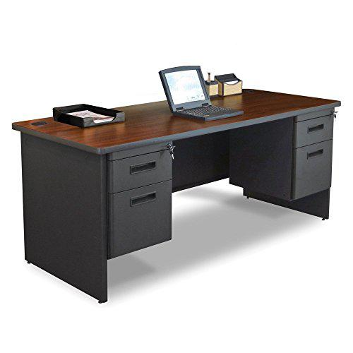 Pronto Double Pedestal Desk, 72W x 36D - Mahogany Laminate and Dark Neutral Finish. Picture 1