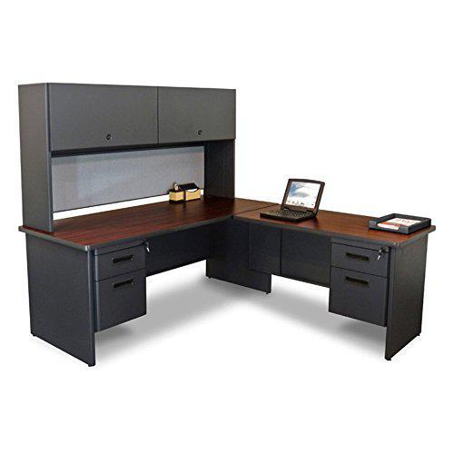 Pronto Desk with Return and Pedestal, 72W x 78D:Dark Neutral/Beryl. Picture 1