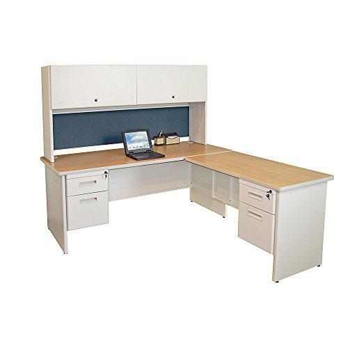 Pronto Desk with Return and Pedestal, 72W x 78D:Putty/Slate. Picture 1