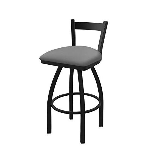 "821 Catalina 25"" Low Back Swivel Counter Stool with Black Wrinkle Finish and Canter Folkstone Grey Seat. Picture 1"