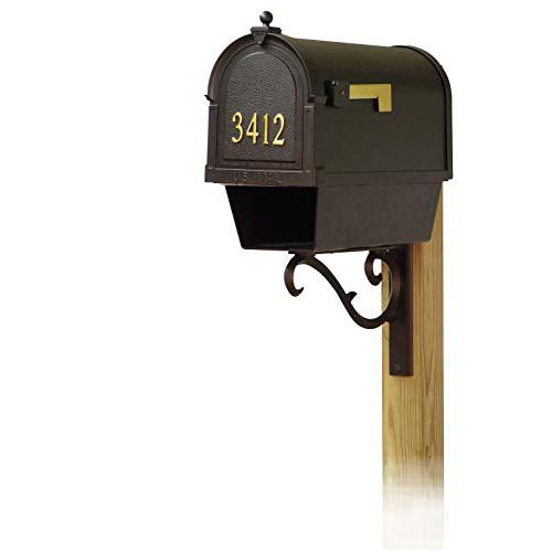 Berkshire Curbside Mailbox with Front Address Numbers, Newspaper tube and Sorrento front single mailbox mounting bracket. Picture 1