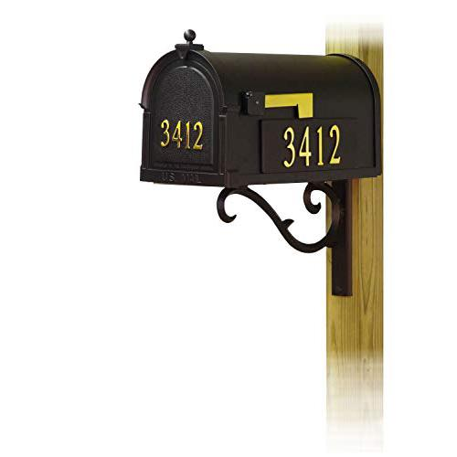 Berkshire Curbside Mailbox with Front and Side Address Numbers and Sorrento front single mailbox mounting bracket. Picture 1