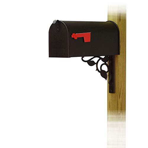 Standard Steel Curbside Mailbox with Floral front single mailbox mounting bracket. Picture 1