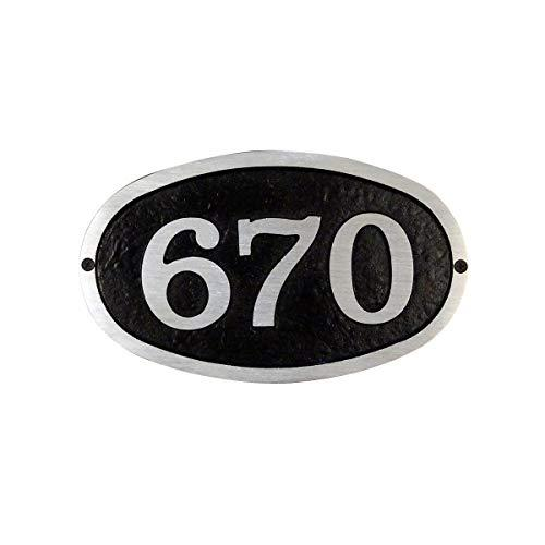 Modern Horizontal Cast Aluminum Address Plaque with Brushed Aluminum Numbers Bold Italic Font. Picture 1