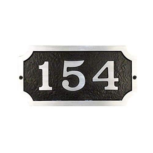Traditional Cast Aluminum Address Plaque with Brushed Aluminum Numbers Bold Italic Font. Picture 1