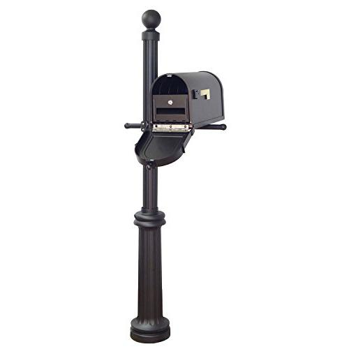 Berkshire Curbside Mailbox with Front Address Numbers, Locking Insert and Fresno Mailbox Post