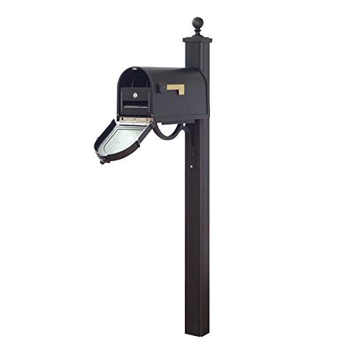 Berkshire Curbside Mailbox with Front Numbers, Locking Insert and Main Street Mailbox Post. Picture 1