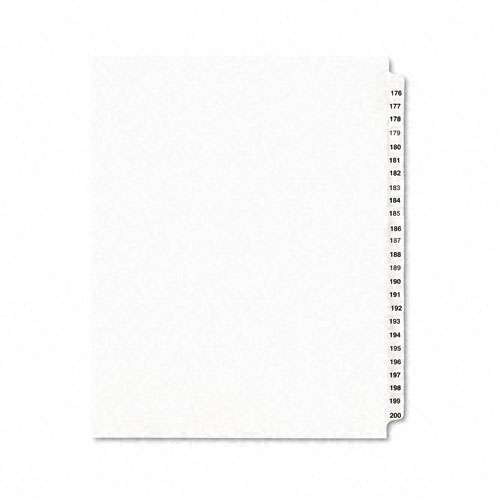 Preprinted Legal Exhibit Side Tab Index Dividers, Avery Style, 25-Tab, 176 to 200, 11 x 8.5, White, 1 Set, (1337). Picture 1
