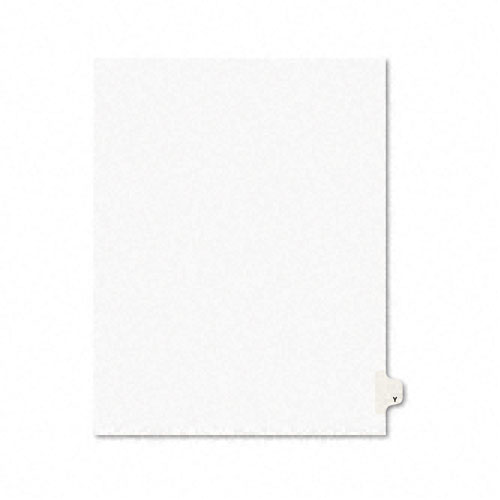 Preprinted Legal Exhibit Side Tab Index Dividers, Avery Style, 26-Tab, Y, 11 x 8.5, White, 25/Pack, (1425). Picture 1