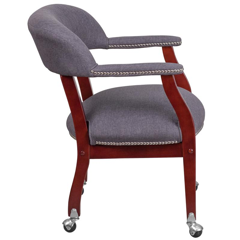 Gray Fabric Luxurious Conference Chair with Accent Nail Trim and Casters. Picture 2