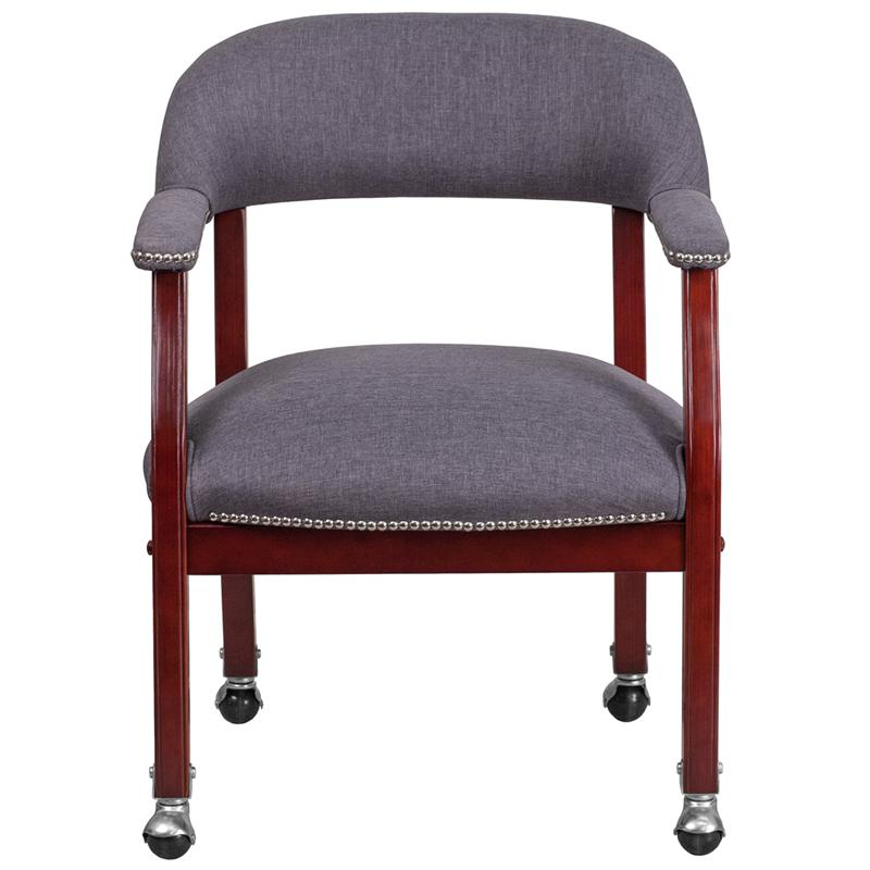 Gray Fabric Luxurious Conference Chair with Accent Nail Trim and Casters. Picture 4
