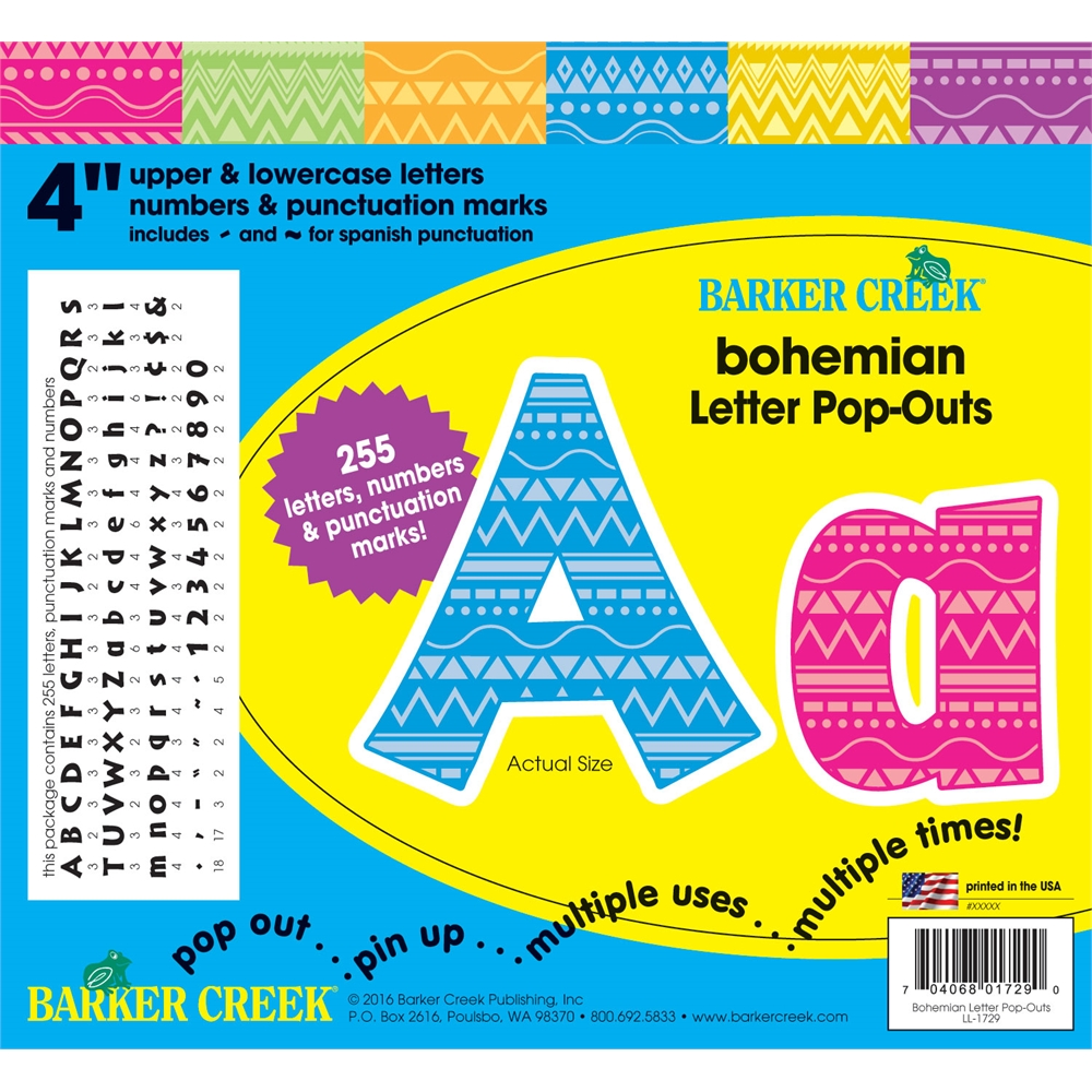 Bohemian 4 Quot Letter Pop Outs 255 Pieces