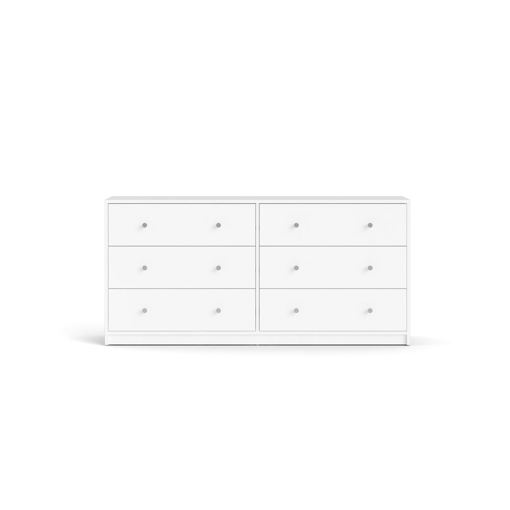 Portland 6 Drawer Double Dresser, White. Picture 2