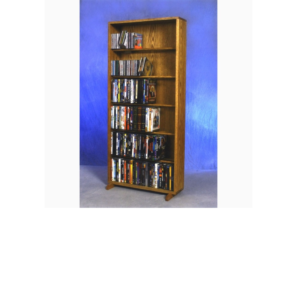 Solid Oak 6 Row Dowel DVD Cabinet Tower. Picture 1