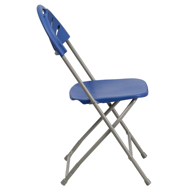 HERCULES Series 440 lb Capacity Blue Plastic Fan Back Folding Chair