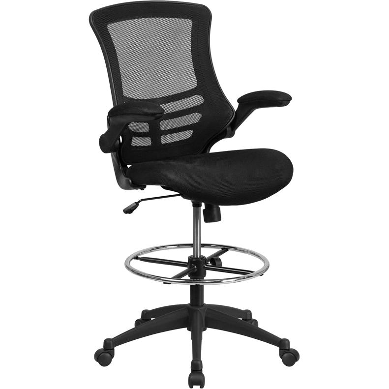 Mid Back Black Mesh Drafting Chair With Adjustable Foot