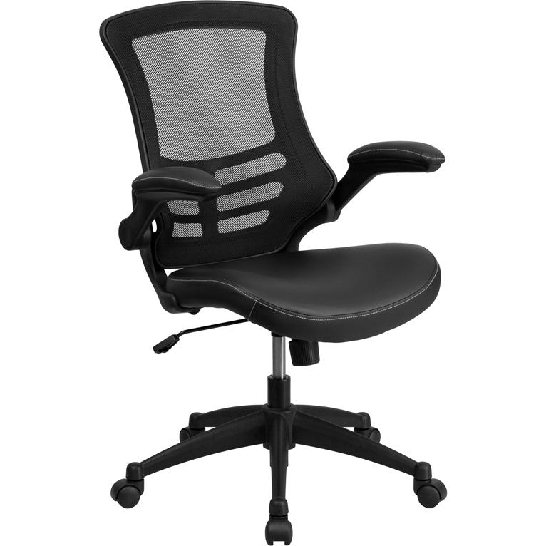 Desk Chair with Wheels | Swivel Chair with Mid-Back Black Mesh and LeatherSoft Seat for Home Office and Desk. Picture 1