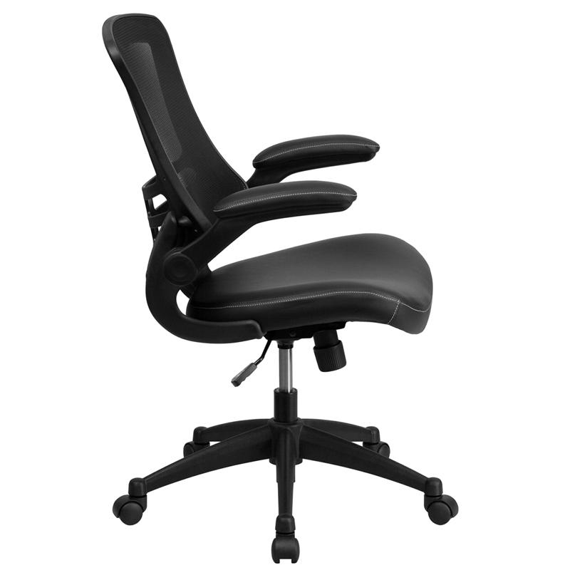 Desk Chair with Wheels | Swivel Chair with Mid-Back Black Mesh and LeatherSoft Seat for Home Office and Desk. Picture 2