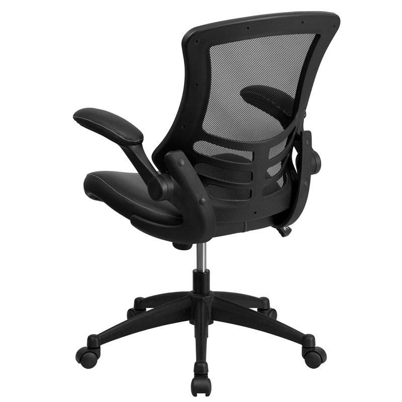 Desk Chair with Wheels | Swivel Chair with Mid-Back Black Mesh and LeatherSoft Seat for Home Office and Desk. Picture 3
