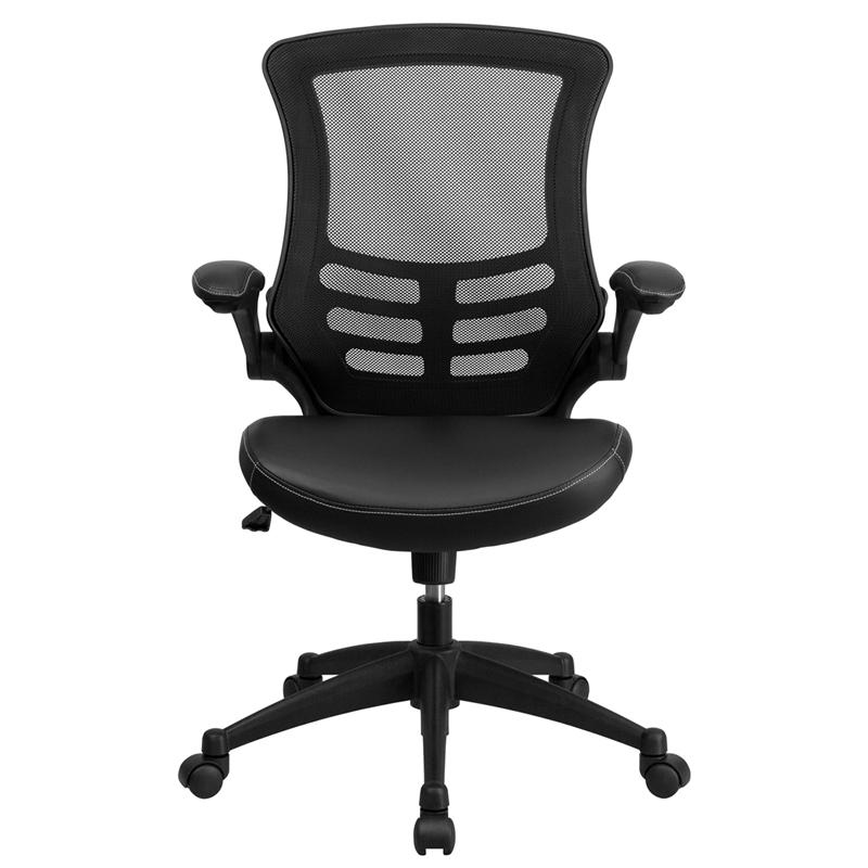 Desk Chair with Wheels | Swivel Chair with Mid-Back Black Mesh and LeatherSoft Seat for Home Office and Desk. Picture 4