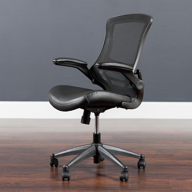 Desk Chair with Wheels | Swivel Chair with Mid-Back Black Mesh and LeatherSoft Seat for Home Office and Desk. Picture 5