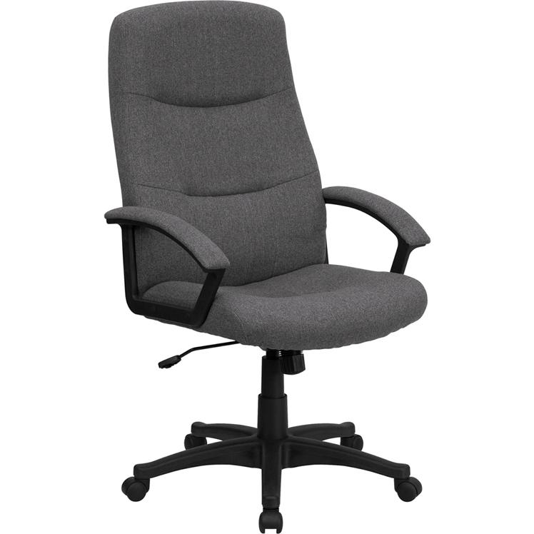 High Back Gray Fabric Executive Swivel Office Chair with Two Line Horizontal Stitch Back and Arms. Picture 1