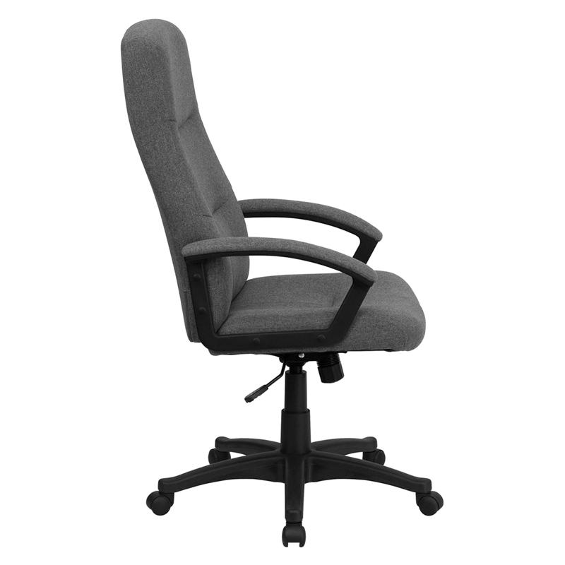 High Back Gray Fabric Executive Swivel Office Chair with Two Line Horizontal Stitch Back and Arms. Picture 2