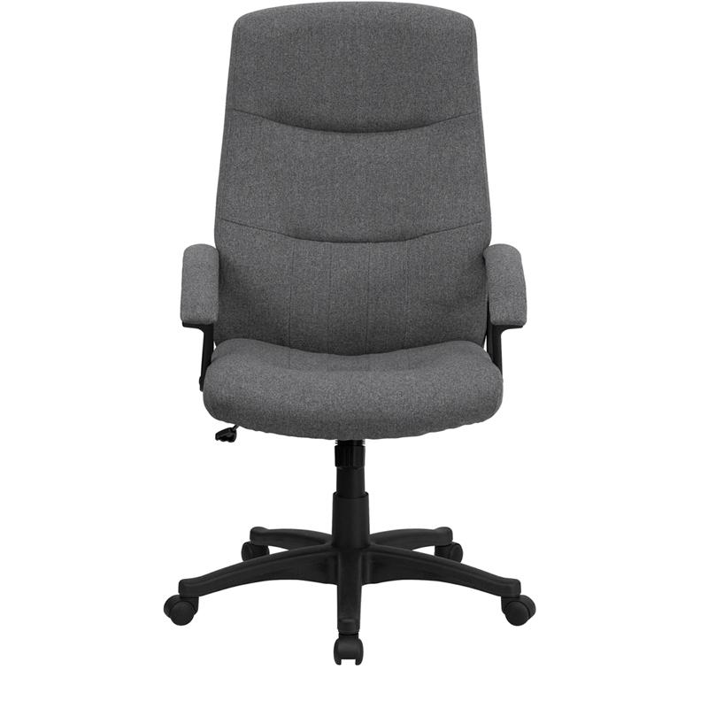 High Back Gray Fabric Executive Swivel Office Chair with Two Line Horizontal Stitch Back and Arms. Picture 4
