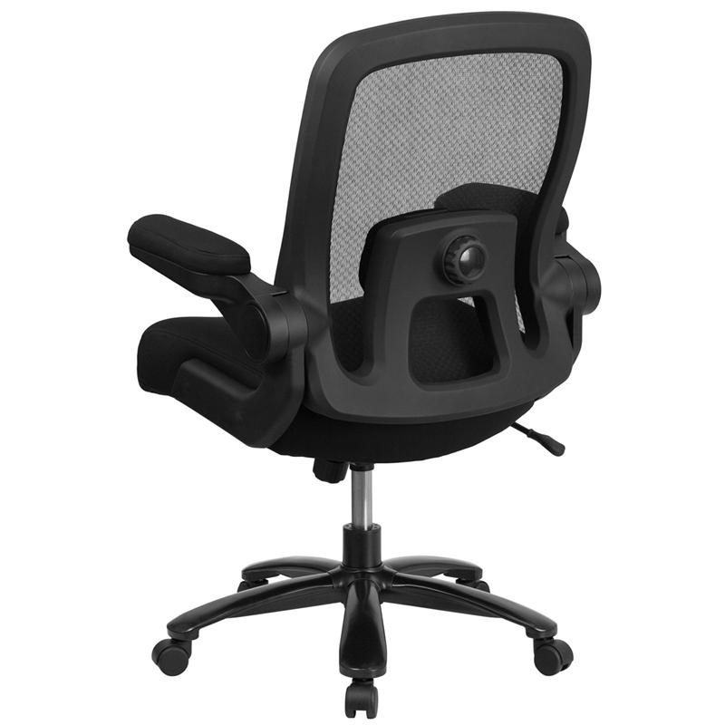 Big & Tall Office Chair | Black Mesh Executive Swivel Office Chair with Lumbar and Back Support and Wheels. Picture 3