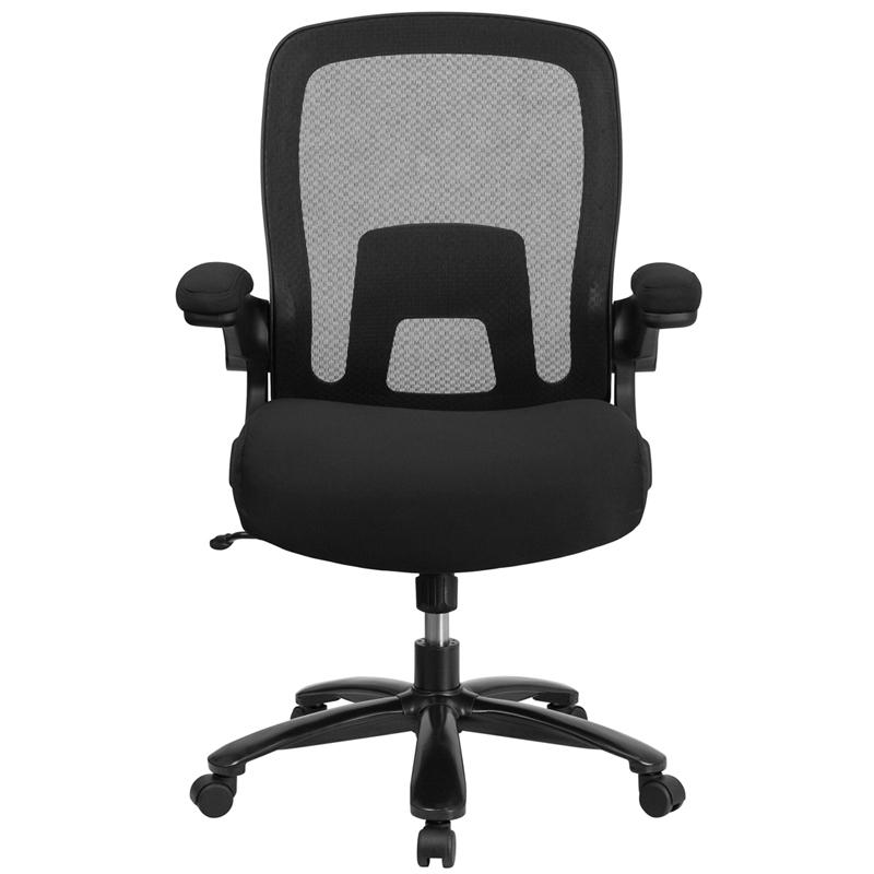 Big & Tall Office Chair | Black Mesh Executive Swivel Office Chair with Lumbar and Back Support and Wheels. Picture 4