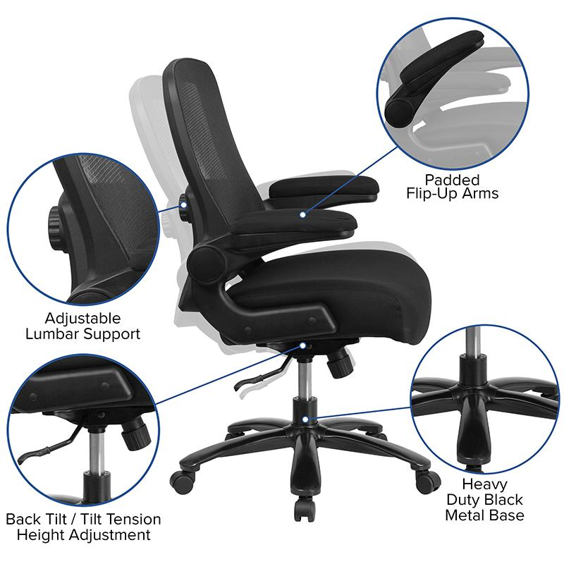 Big & Tall Office Chair | Black Mesh Executive Swivel Office Chair with Lumbar and Back Support and Wheels. Picture 5
