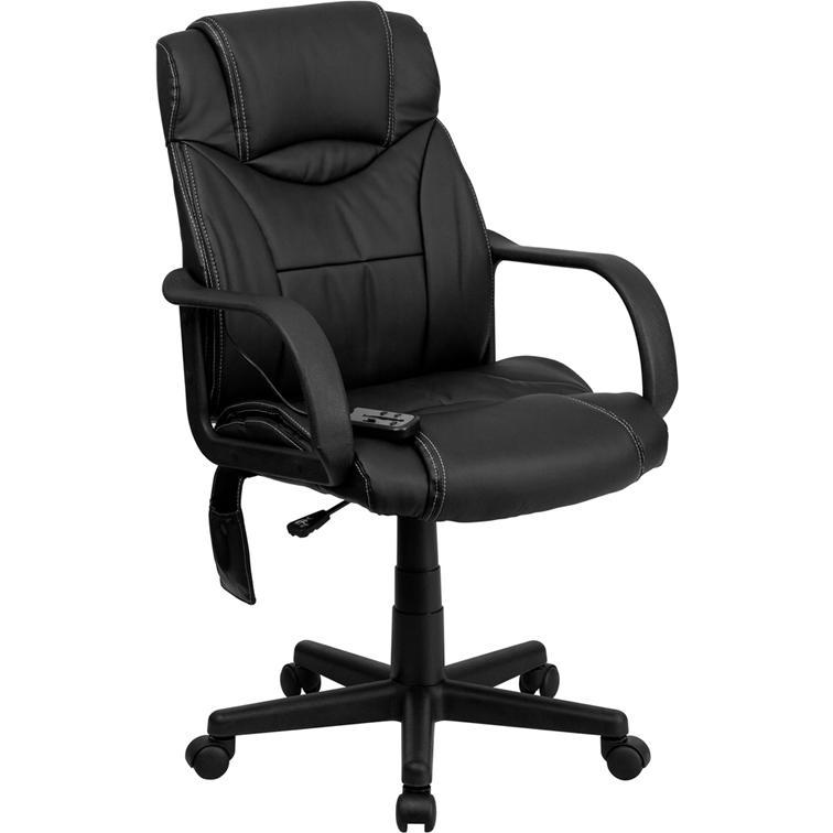 high back massaging black leather executive swivel office