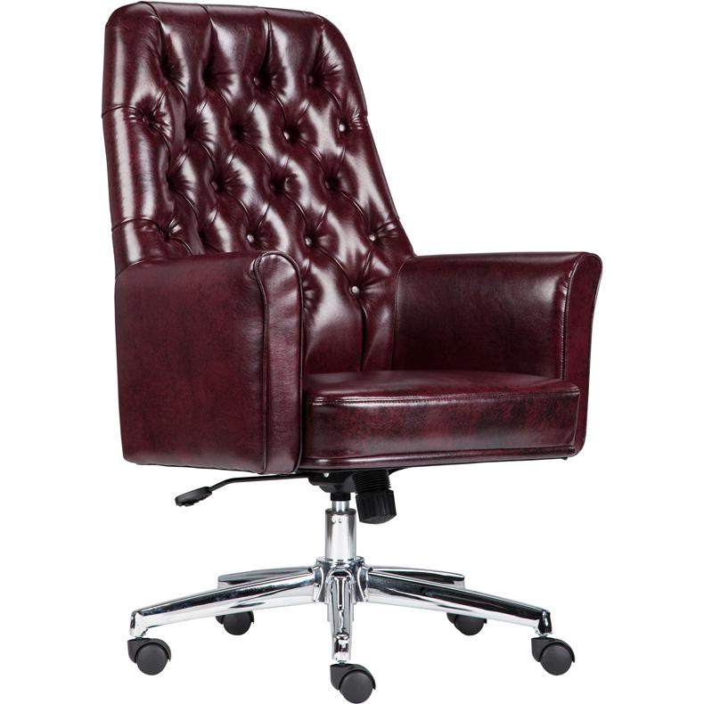 Mid Back Traditional Tufted Burgundy Leather Executive