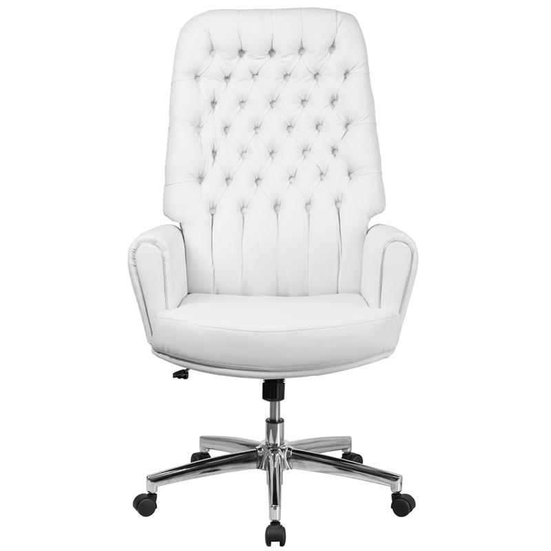 High Back Traditional Tufted White Leather Executive