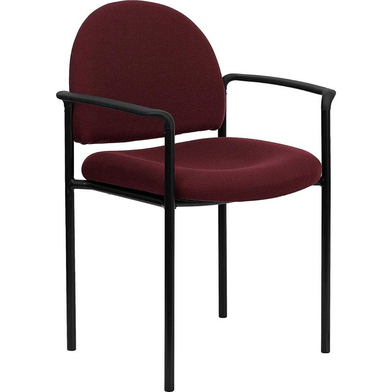 burgundy fabric stackable steel side reception chair with arms